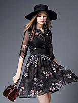 BOMOVO® Women's V Neck 1/2 Length Sleeve Knee-length Dress-B16XQ3E
