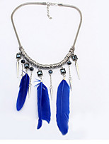 Simple Metal Leaf Elegant Feathers Long Necklace Personalized Leaves Retro Tassel Sweater Chain
