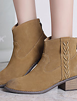 Women's Shoes Cowhide Winter Combat Boots Boots Casual Chunky Heel Zipper / Tassel Camel / Khaki