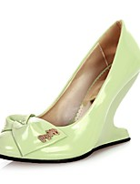 Women's Shoes Patent Leather Summer/ Round Toe Heels Office & Career / Casual Wedge Heel BowknotBlue / Green / Pink /