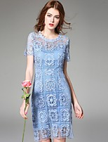 Boutique S  Women's Going out Street chic Lace Dress,Solid Round Neck Above Knee Short Sleeve Blue Polyester Summer