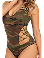 Strappy Cutout Camouflage Bodysuit