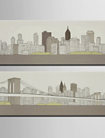 E-HOME® Stretched Canvas Art City Decoration Painting  Set Of 2