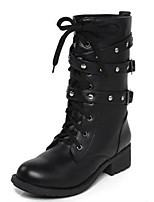 Women's Boots Fall / Winter Fashion Boots PU Casual Flat Heel Lace-up Black Others