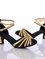 Women's Latin Silk Heel Indoor Customized Heel Black Customizable