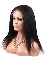 EVAWIGS 8-26 Inch Brazilian Virgin Hair Wig Kinky Straight Glueless Lace Front Wig Color Natural Black Baby Hair Wig