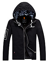 Men's Long Sleeve Casual / Work / Sport / Plus Size Removable Hood Jacket Cotton Print / Letter 5Colors