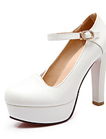 Women's Summer / Fall Heels / Round Toe PU Office & Career / Casual Chunky Heel Sparkling Glitter / Buckle Blue / Pink / White
