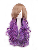 Brown/Purple Ombre Wig Pelucas Pelo Natural Synthetic Wigs Heat Resistant Perruque Anime Cosplay Wigs Curly Peruca