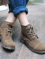 Women's Shoes Cowhide Spring / Fall / Winter Combat Boots Boots Outdoor / Casual Low Heel Lace-up Brown / Camel