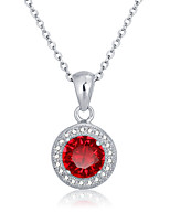 Fashion Personalized Gift  Red 925 Sterling Silver CZ Stone Women Necklaces & Pendants