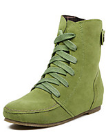 Women's Shoes Suede Fall Round Toe Boots Outdoor Low Heel Lace-up Black / Green / Gray / Camel / Burgundy