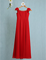 Lanting Bride Floor-length Chiffon Junior Bridesmaid Dress Sheath / Column Scoop with