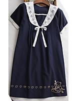 Maternity Casual/Daily Simple T Shirt Dress,Embroidered Round Neck Above Knee Short Sleeve Blue / White Cotton Summer
