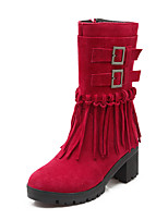 Women's Shoes Fall / Winter Round Toe Boots Dress Chunky Heel Zipper / Tassel Black / Yellow / Red / Khaki