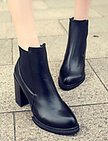 Women's Shoes PU Spring / Fall / Winter Bootie Boots Outdoor Chunky Heel Black / Burgundy