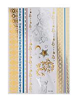 1pc Flash Metallic Waterproof Tattoo Glod Silver Deer Star Wrist Bracelet Temporary Tattoo Sticker YH-106