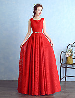 Floor-length Lace Bridesmaid Dress Sheath / Column Notched with Sash / Ribbon