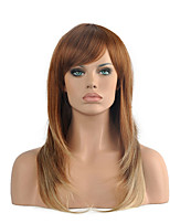 Top Quality OmbreLight Brown/Blonde Color Wig Middle Length Straight Hair Synthetic Wig