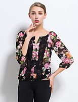 Women's Casual/Daily Cute / Street chic Summer Blouse,Floral V Neck ¾ Sleeve Black Polyester Thin