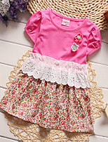 Girl's Casual/Daily Floral Dress,Cotton / Polyester Summer Green / Pink / Red / White / Yellow