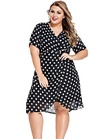 Women's Plus Size Sexy Swing Dress,Polka Dot V Neck Knee-length Short Sleeve Black Polyester / Spandex Summer