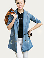 Women's Print Blue Denim Jackets,Street chic ½ Length Sleeve Polyester