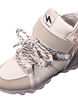 Women's Heels Spring / Fall Round Toe PU Casual Wedge Heel Lace-up Black / Beige Others