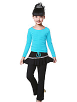 Children's Performance Milk Fiber Pleated / Ruched 2 Pieces Long Sleeve Latin Dance Outfits