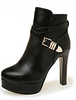 Women's Boots Fall / Winter Fashion Boots PU Casual Chunky Heel Buckle Black / Red Others