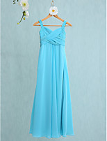 Lanting Bride Floor-length Chiffon Junior Bridesmaid Dress Trumpet / Mermaid Straps with Criss Cross
