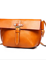 Women Cowhide Casual Shoulder Bag Brown / Black