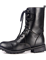 Women's Boots Winter Fashion Boots PU Casual Flat Heel Lace-up Black Others