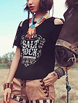 Women's Print Black T-shirt,Round Neck Short Sleeve