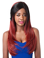 European Vogue Long Sythetic  Black Mix Wine Red Side Bang Straight Party Wig For Women