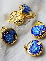 DIY Jewelry Blue Flower Style Copper Charm
