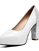 Women's Shoes Leatherette Chunky Heel Heels Heels Wedding / Party & Evening / Dress / Casual Black / Red / White