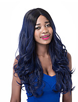 European Vogue long Sythetic Black Mix Dark Blue Wave Party Wig For Women