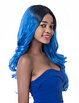 European Vogue Long Sythetic Dark Roots Blue Wave Party Wig For Women