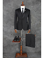 Suits Tailored Fit Peak Single Breasted One-button Polyester Solid 3 Pieces Black Straight Piped
