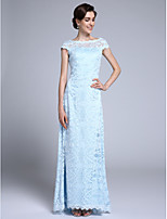 Lanting Bride Sheath / Column Mother of the Bride Dress Floor-length Short Sleeve Lace with Lace