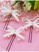 Set of 3 Women's White/Red Bow Bowknot Shape Hair Stick Pin for Wedding Party Hair Jewelry with Pearl Crytsal