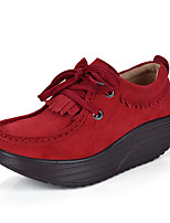Women's Shoes Tulle Spring / Fall Round Toe Flats Casual Flat Heel Others / Lace-up Blue / Brown / Red