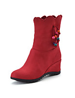 Women's Shoes Fall / Winter Fashion Boots / Round Toe Boots Dress Wedge Heel Others Black / Red