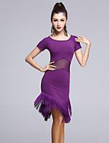 Latintanz-Kleider(Schwarz / Purpur,Viskose / Tüll,Latintanz) - fürDamen Kleid Kurze Ärmel Normal