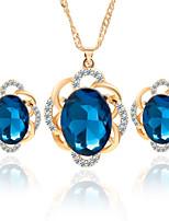 sencilla aleación de cristal de estilo con flores pendientes de diamantes de imitación collar de regalos de las damas de honor de la boda