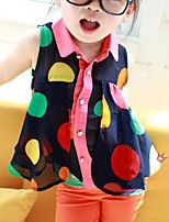 Girl's Casual/Daily Polka Dot Blouse,Polyester Summer Blue / Beige