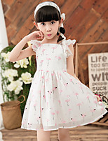 Girl's Casual/Daily Print Dress,Cotton / Polyester All Seasons Blue / Pink