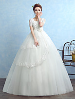 볼 드레스 웨딩 드레스 바닥 길이 사각형 튤 와 아플리케