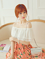 SINCE  THEN Women's Solid White Blouse,Boat Neck Short Sleeve